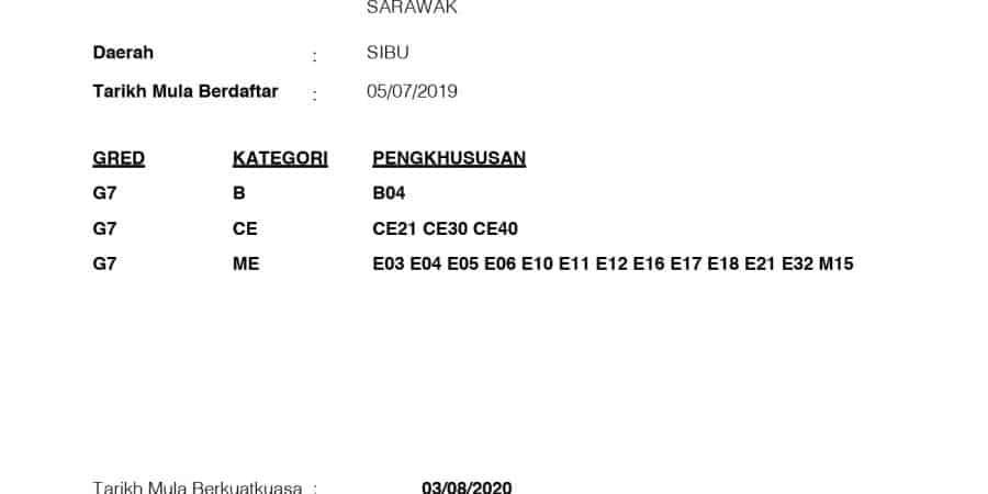 Tawakal Bumi Sdn Bhd CIDB